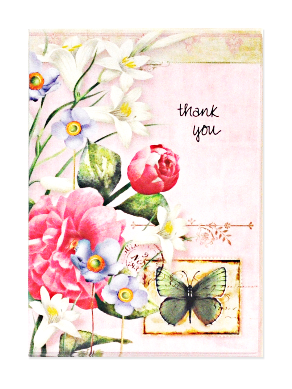 flowers and butterfly thank you cards