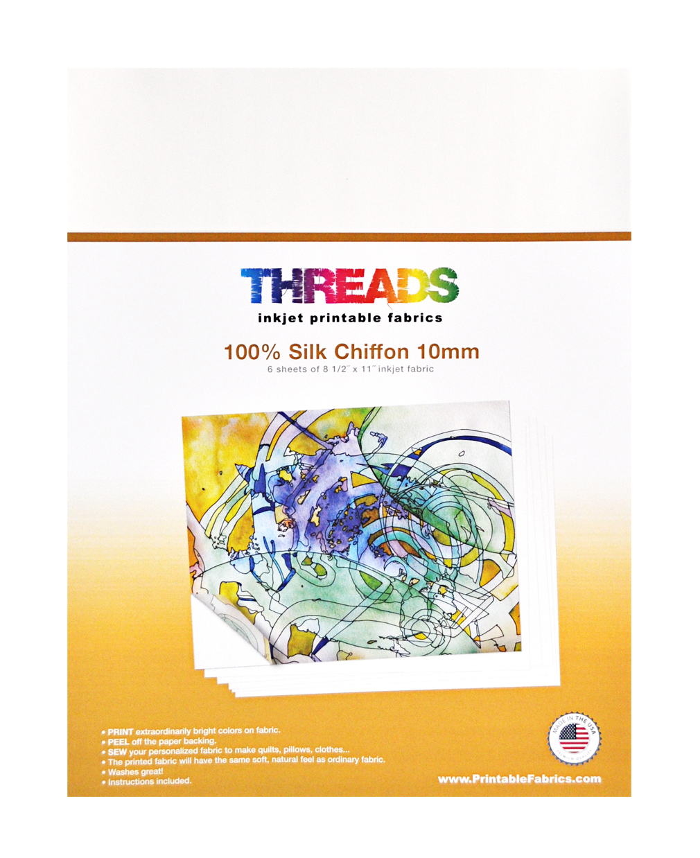 threads 6 sheets of silk chiffon 8 1 2in x 11in inkjet printable fabrics